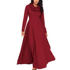 Solid Long Sleeves A-line Casual/Elegant Maxi Dresses
