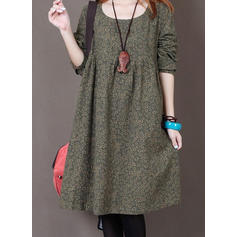 Solid Long Sleeves Shift Knee Length Casual Dresses
