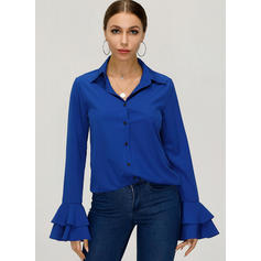 Solid V Neck Flare Sleeve Long Sleeves Button Up Casual Elegant Shirt Blouses