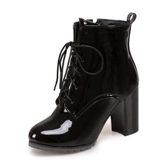 Dla kobiet Skóra ekologiczna Obcas Slupek Kozaki Z Sznurowanie obuwie