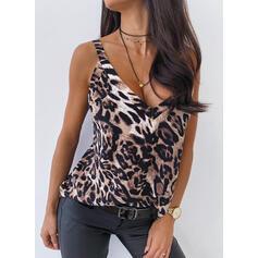 Leopardo Decote em V Sem Mangas Casual Camisetas regata