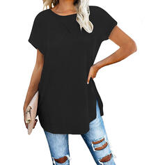 Solid Round Neck Short Sleeves Casual T-shirts