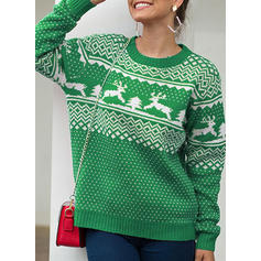 Kvinnor polyester Print Kabelsticka Ren Ugly Christmas Sweater