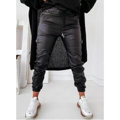 Sólido PU Largo Deportivo Clásico Bolsillo shirred cordraystring Pantalones