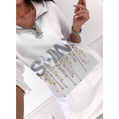 Print 3/4 Sleeves Shift Above Knee Casual Sweatshirt Dresses