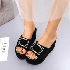 Women's Leatherette Wedge Heel Sandals Wedges Peep Toe Slingbacks Slippers With Bowknot shoes