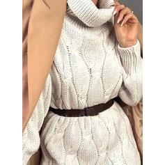 Μονόχρωμο Πλέξη Καλώδιο balıkçı yaka Günlük Uzun Kazak elbise