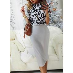 Leopard Lange Ärmel Figurbetont Lässige Kleidung Midi Kleider
