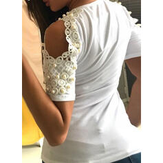 Solid Lace Cold Shoulder Short Sleeves Casual T-shirts