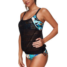 Floral Strap Sports Plus Size Tankinis Swimsuits