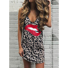 Print/Leopard Sleeveless Shift Above Knee Casual Tank Dresses