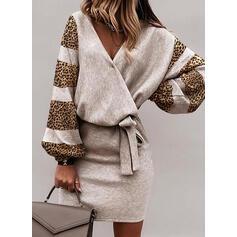 λεοπάρδαλη Hosszú ujjú Testre simuló ruhák Térd feletti Hétköznapokra φορέματα