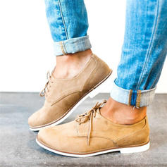 Men's Suede Flat Heel Flats With Lace-up shoes