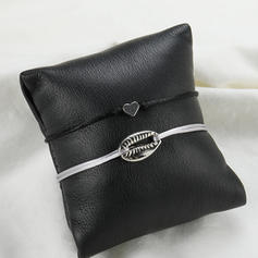 Heart Shaped Alloy Braided Rope Bracelets (Set of 2)