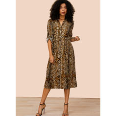 Leopard Long Sleeves A-line Casual Midi Dresses