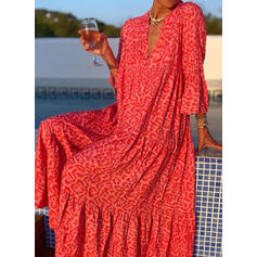 Leopard 3/4 Sleeves Shift Casual/Vacation Maxi Dresses
