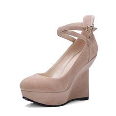 Femmes Vrai cuir Talon compensé Plateforme Bout fermé Compensée avec Boucle chaussures