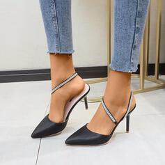 Frauen Satin Stöckel Absatz Absatzschuhe mit Strass Schuhe