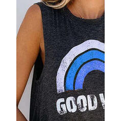 Print Round Neck Sleeveless Casual Tank Tops