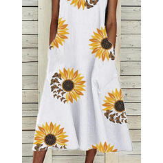 Sunflower Print/Animal Sleeveless Shift Casual Midi Dresses