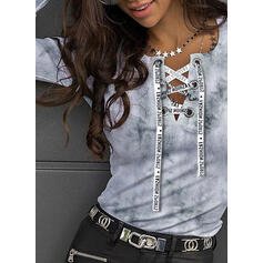 Print Tie Dye Figure V-Neck Long Sleeves Casual Knit Blouses
