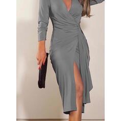 Solid Long Sleeves Sheath Knee Length Little Black/Party/Elegant Dresses