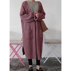 Cotton Long Sleeves Plain Wide-Waisted Coats