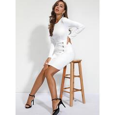Jednolita Długie rękawy Pokrowiec Długośc do kolan Elegancki Sukienki