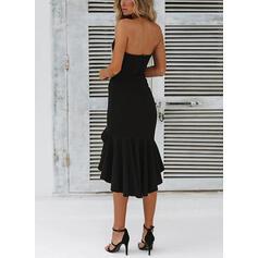 Solide Mouwloos Koker Asymmetrische Zwart jurkje/Sexy/Feest Jurken