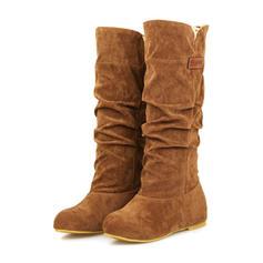 Női Szarvasbőr Lapos sarok Lakások Zárt lábujj Csizma Mid-Calf Csizma -Val fodros cipő
