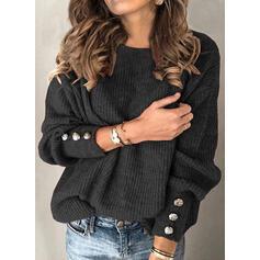 Einfarbig Gerippt Rundhalsausschnitt Freizeit Pullover