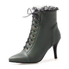 Femmes Similicuir Talon stiletto Escarpins Bottes Bottines avec Dentelle chaussures
