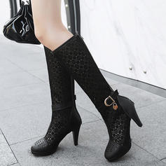 Women's Leatherette Lace Stiletto Heel Platform Boots Knee High Boots With Buckle shoes