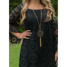 Lace/Solid 3/4 Sleeves Shift Above Knee Little Black/Elegant Tunic Dresses