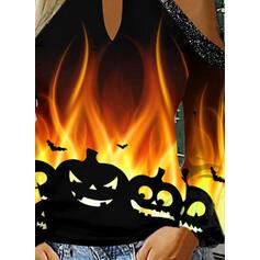 Распечатать Блестки Холодный прием Длинные рукова Повседневная Хэллоуин Блузы
