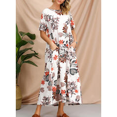 Print/Floral 1/2 Sleeves Shift Casual/Boho/Vacation Midi Dresses