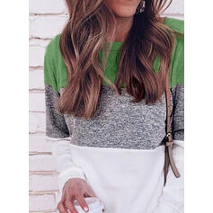 Color Block Round Neck Long Sleeves Casual T-shirts