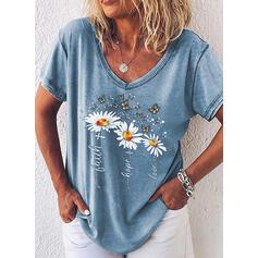 Blomster Dyreprint Bogstav V-hals Korte ærmer Casual T-shirts