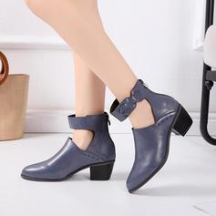 Women's PU Chunky Heel Flats With Buckle shoes
