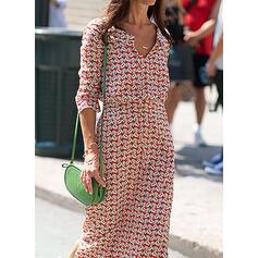 Nadrukowana Długie rękawy Pokrowiec Casual Maxi Sukienki