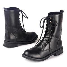 Női PU Lapos sarok Lakások Zárt lábujj Csizma -Val Lace-up cipő