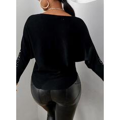 Beaded Round Neck Long Sleeves Casual Blouses