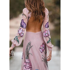 Print/Floral Long Sleeves/Lantern Sleeve A-line Skater Sexy/Party Maxi Dresses