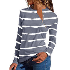 Striped V-Neck Long Sleeves Button Up Blouses