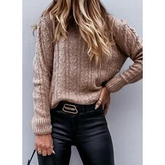 固体 ケーブル編み クルーネック カジュアル セーター