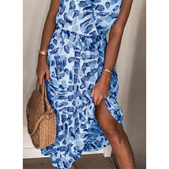 Print Cap Sleeve A-line Casual/Vacation Midi Dresses