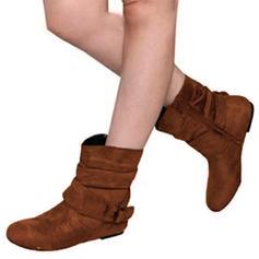 De mujer PU Tacón plano Planos Cerrados Botas con Hebilla zapatos