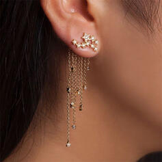 Conception de glands Étoile brillante Alliage Strass Femmes Boucles d'oreilles 2 PCS