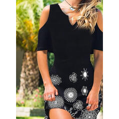 Print Cold Shoulder Sleeve Shift Above Knee Casual Dresses