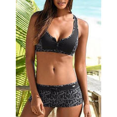 Taille Basse Patchwork À Bretelles Sports Bikinis Maillots De Bain